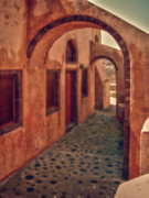 Archways Framed Prints - Santorini Courtyard Framed Print by Sandra Bronstein
