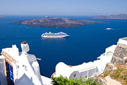 Liner Photos - Santorini Cruising by Meirion Matthias