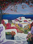 Staircase Painting Metal Prints - Santorini Metal Print by Dorota Nowak