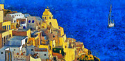 Surreal Landscape Painting Metal Prints - Santorini Metal Print by George Rossidis