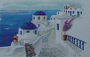 Greece Watercolor Paintings - Santorini Greece Blue Churches by Helidon