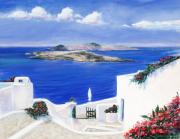 Flowers Pastels - Santorini Greece by Sharon Morley  APS