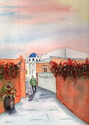 Greece Watercolor Paintings - Santorini Greece Street Scene by Sharon Mick