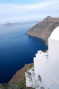 Kaufman Digital Art Acrylic Prints - Santorini Greece Vista Acrylic Print by Eva Kaufman