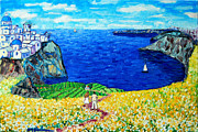 Perspective Paintings - Santorini Honeymoon by Ana Maria Edulescu