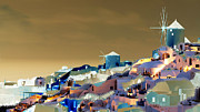 Bluesky Digital Art Framed Prints - Santorini Framed Print by Ilias Athanasopoulos