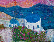 Church Prints Paintings - Santorini in May by Tara Leigh Rose
