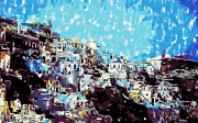 Greece Watercolor Paintings - Santorini island by Dean Wittle