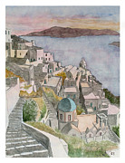 Greece Watercolor Paintings - Santorini by Rod Jones