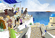Roof Digital Art Prints - Santorini Rooftop  Print by Sean Hagan