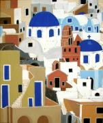 Churches Painting Originals - Santorini by Stephanie Moore