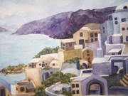 Sandy Collier Posters - Santorini Summer Poster by Sandy Collier