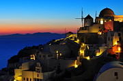 Greece Framed Prints - Santorini Sunset Framed Print by Ian Stotesbury