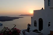 Leda Photography Prints - Santorini Sunset Print by Leslie Leda
