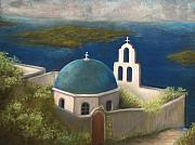 Greece Mixed Media Prints - Santorini Print by Susan Jenkins