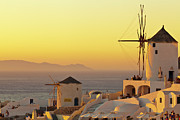 Greek Photo Prints - Santorini Windmills At Sunset Print by P!xntxt