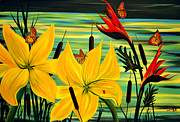 Yellow Bird Of Paradise Prints - Santuary Print by Adele Moscaritolo