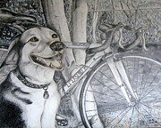 Bicycle Drawings - Sapphire and Bike by HHolly Bazmi