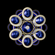 Brooch Framed Prints - Sapphire and Gold Brooch Framed Print by Hakon Soreide