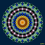 Gold Necklace Posters - Sapphire Necklace Mandala Poster by Joy McKenzie