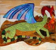 Art Glass Mosaic Glass Art - Sapphire The Magic Dragon by Charles McDonell