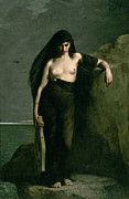 Greek Metal Prints - Sappho Metal Print by Charles Auguste Mengin