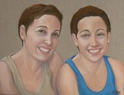 Sisters Pastels Framed Prints - Sarah and Rebecca Framed Print by Pat Neely