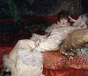 Cushion Painting Metal Prints - Sarah Bernhardt Metal Print by Georges Clairin