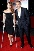 Crutches Posters - Sarah Larsen, George Clooney Poster by Everett
