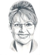 Political  Drawings - Sarah Palin by Murphy Art. Elliott by Murphy Elliott