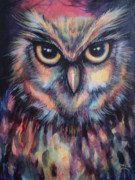 Colorful Owl Paintings - SaRas owl by Jack No War