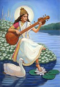 Saraswati Framed Prints - Sarasvati Framed Print by Sue Halstenberg