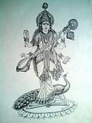 God Drawings Originals - Saraswati  Godess of Knowledge by Abhishek Chauhan