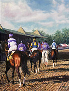 Kentucky Derby Paintings - Saratoga Post Parade by Thomas Allen Pauly
