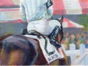 Horse Racing Art Prints - Saratoga Stripes Print by Kimberly Santini
