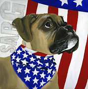 Boxer Dog Paintings - Sarg by Debbie Brown