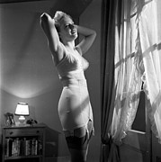 Garter Belt Framed Prints - Sarong Corset Framed Print by Bert Hardy