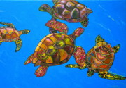 Caribbean Sea Framed Prints - Sarrahs Sea Turtles Framed Print by Patti Schermerhorn