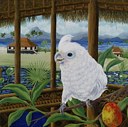 Cockatoo Painting Framed Prints - Sasha in Indonesia Framed Print by Danielle  Perry