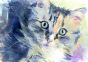 Tortie Paintings - Sasha Kitty by Kimberly Santini