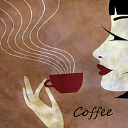 Brunette Posters - Sassy Lady Coffee Poster by Angelina Vick