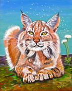 Turf Paintings - Sassy Lynx and Dandelions by Phyllis Kaltenbach