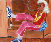 Citizen Painting Prints - Sassy Old Lady Print by Victoria  Johns
