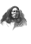 Tribes Drawings Framed Prints - Satanta Framed Print by Lee Updike