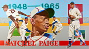 Montage Mixed Media Framed Prints - Satchel Paige Framed Print by Cliff Spohn