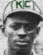Leagues Posters - Satchel Paige KC Monarchs African American Mosaic Poster by Paul Van Scott