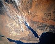 Satellite Image Of Land Print by Stocktrek Images