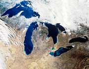 Satellite Image Posters - Satellite Image Of The Great Lake Region Poster by Nasa