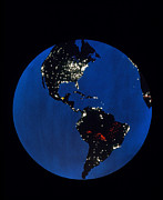 Urbanization Posters - Satellite Picture Of The Americas Poster by NASA / Science Source