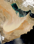 Arabia Framed Prints - Satellite View Of A Dust Storm In Saudi Framed Print by Stocktrek Images